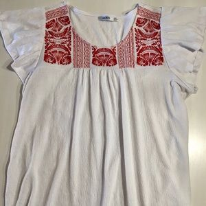 Tops - Boho White Shirt with Red Embroidery